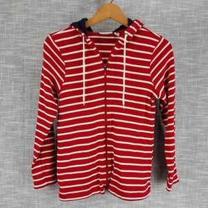 L.L. Bean Striped Hoodie Jacket XS Red White